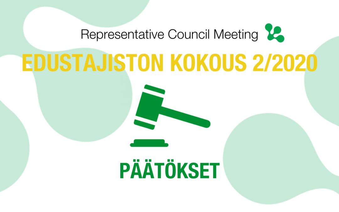 Edustajiston kokous 2/2020 – näitä asioita käsiteltiin